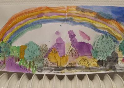 met een prachtige regenboog